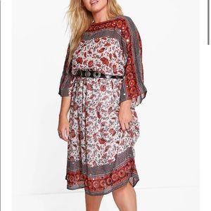 "EUC ""Sara"" Sequinned Printed Midi Dress 20W"